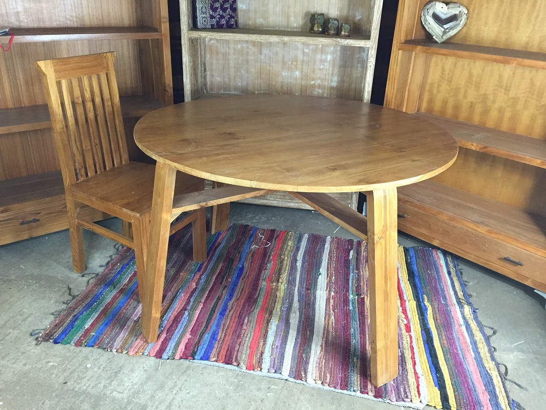 Indonesian Teak Round Dinning Table  Natural East