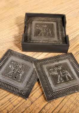 Embossed Metal Elephant Coaster Set x6