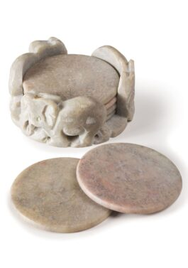 Set of 6 Soapstone Coasters in Hand Carved Elephant Holder