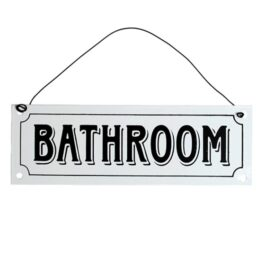 Metal bathroom sign