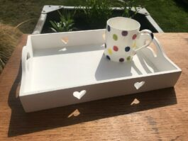 Wooden Shabby Chic Heart Serving Tray